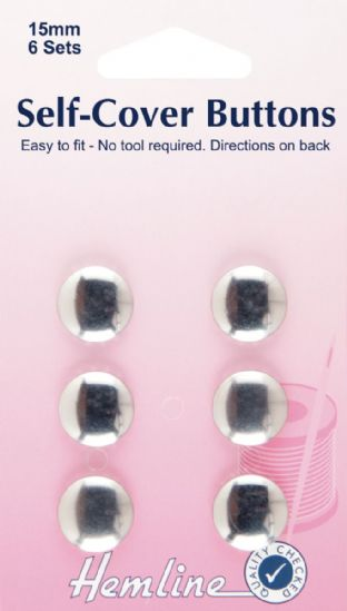 H473.15 Self Cover Buttons: Metal Top - 15mm